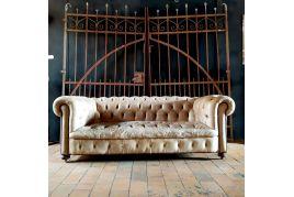 Canapé chesterfield en cuir blanc
