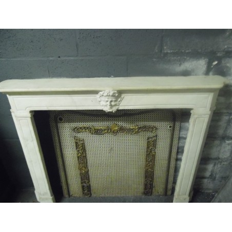 Très beau radiateur fleuri ancien patiné blanc